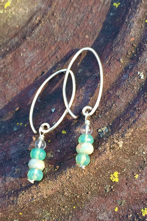 Chrysoprase and Amazonite Earrings (KarenHill Tribe Silver)