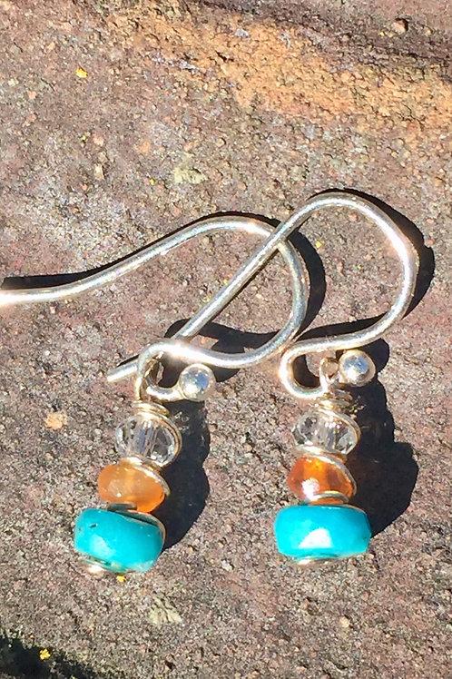 Kingman Turquoise and carnelian earrings