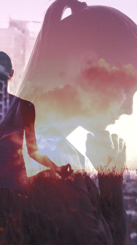 stress meditation city and girl image_ed