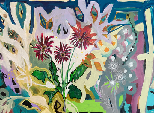 LUSH BOTANICALS ALONGSIDE SPONTANEOUS ABSTRACT ARCHITECTURAL ELEMENTS - ARTIST JESSICA RUTH FREEDMAN