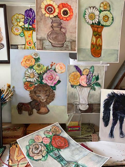 Playful Cats and Flowers - Artist Jenny Belin