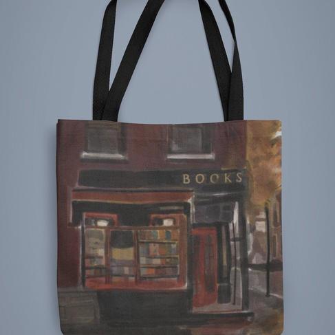 Rainy Corner Bookshop Tote Bag