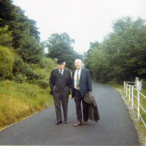 Jack (John L) Sweeney, critic, curator at Harvard, and RGE taking stroll  in Ireland family trip summer 1965 Jack