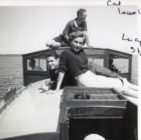 Cal Lowell on Reve summer cruise on Penobscot Bay 1970s