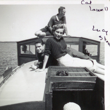 Cal Lowell on Reve summer cruise on Penobscot Bay 1970s