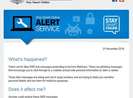 Stay Smart Online Alert - SMS Medicare Phishing scam