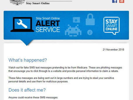Stay Smart Online Alert - SMS Medicare Phishing scam