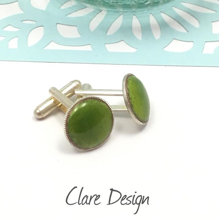 clare design lime green cufflinks