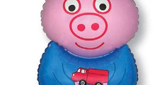 Поросенок с игрушкой, Голубой, 79 см