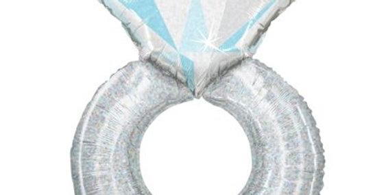 Кольцо с бриллиантом голография, 96 см
