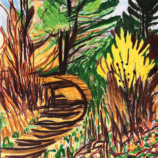 """Forsythia on Fore River, Sanctuary Path 14"""" x 11""""  Watercolor on Paper"""