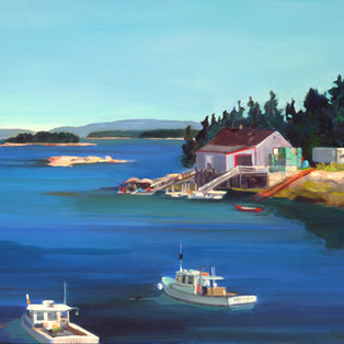 "Stonington Lobster Boats 16"" x 16"" $550"