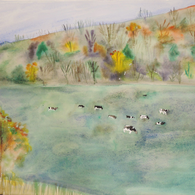 Autumn Landscape with Herd of Cows