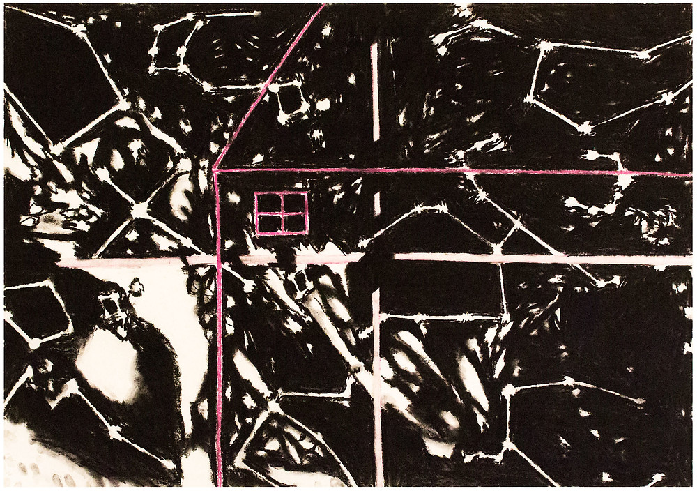 Frances Hynes. Constellation Series #3 (House/Window with Northern Cross and Milky Way), 1986. Compressed charcoal and pastel on paper. Collection of the Hudson River Museum. Gift of the artist, 2019.