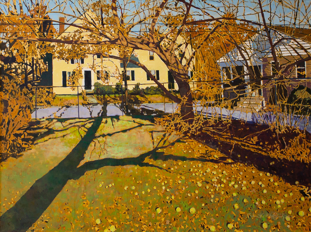 """Back Yard, Apple Tree"" 36"" x 48"" oil on canvas"