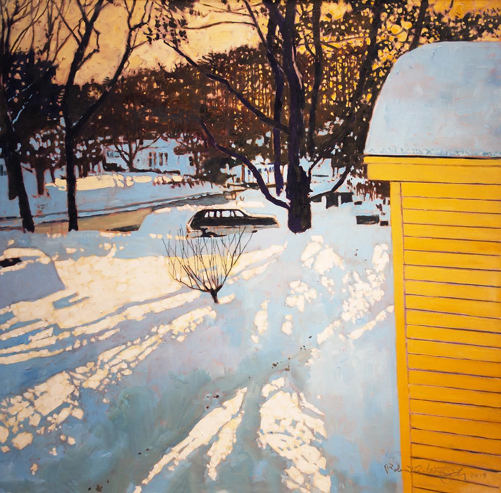 """Blue Shadows, Golden Light,"" 36"" x 36"" oil on canvas"
