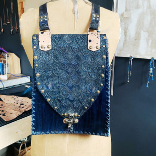 Indigo Hand Tooled Ponomo Backpack