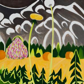 Dandelion and Blooming Tree