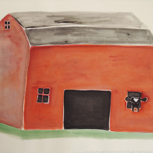 Large Red Barn with Cow Looking out the Front