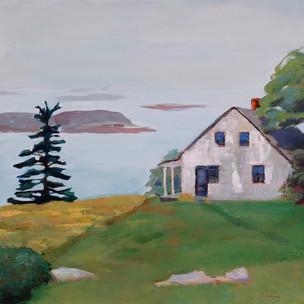"Island House, Casco Bay 16""x16"" $550."