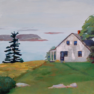 "Island House, Casco Bay 16""x16"" $550."