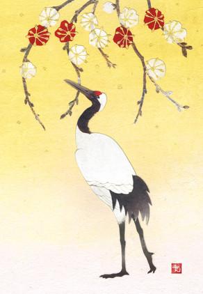 紅白梅鶴図