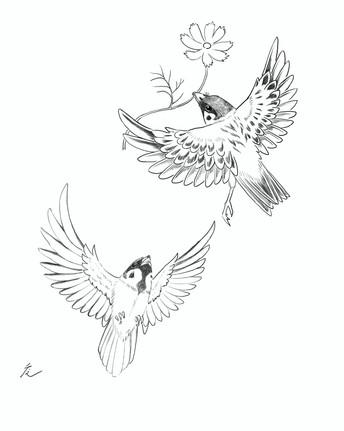 秋桜雀(こすもすすずめ)