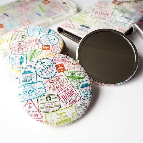 Passport Stamps   Round Mirror