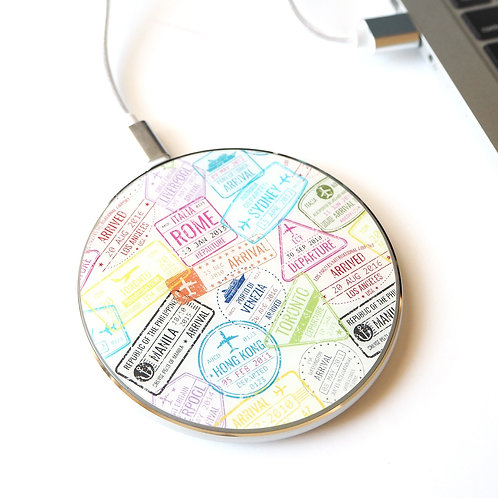 Passport Stamps | LED Wireless Charger