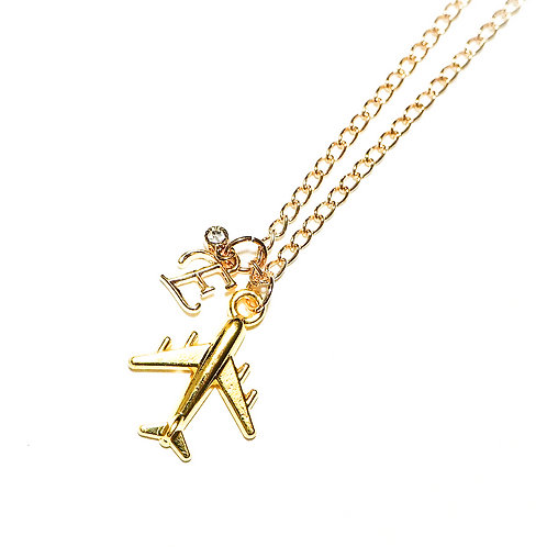 Customized Airplane Necklace | Gold