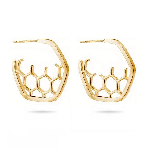 Gold Hoop Honeycomb Earrings
