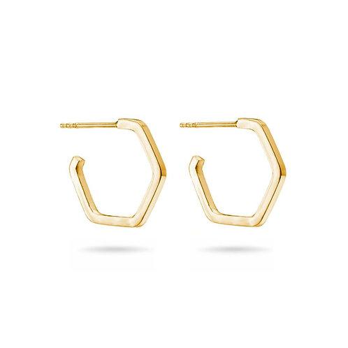 Gold Hoop Hexagon Earrings
