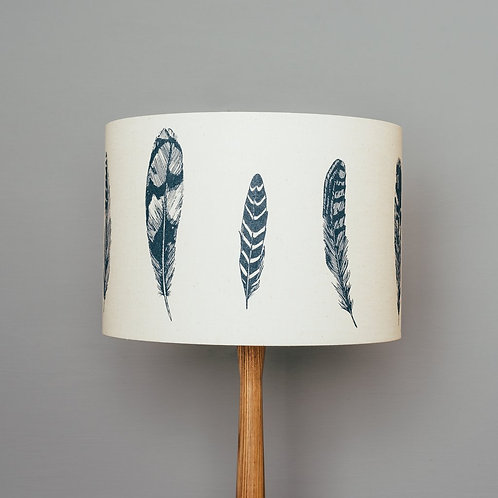 Navy Blue Feather Lampshade
