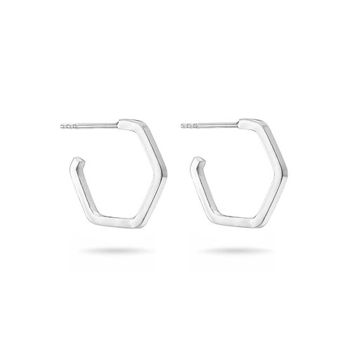 Hoop Hexagon Earrings
