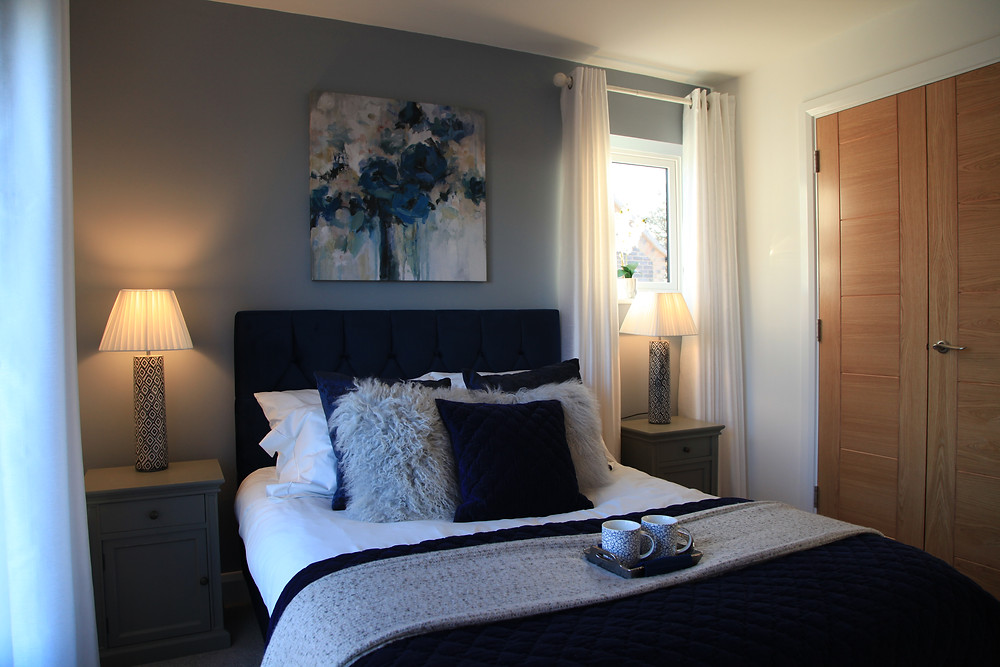 Blue Master Bedroom of a Show Home