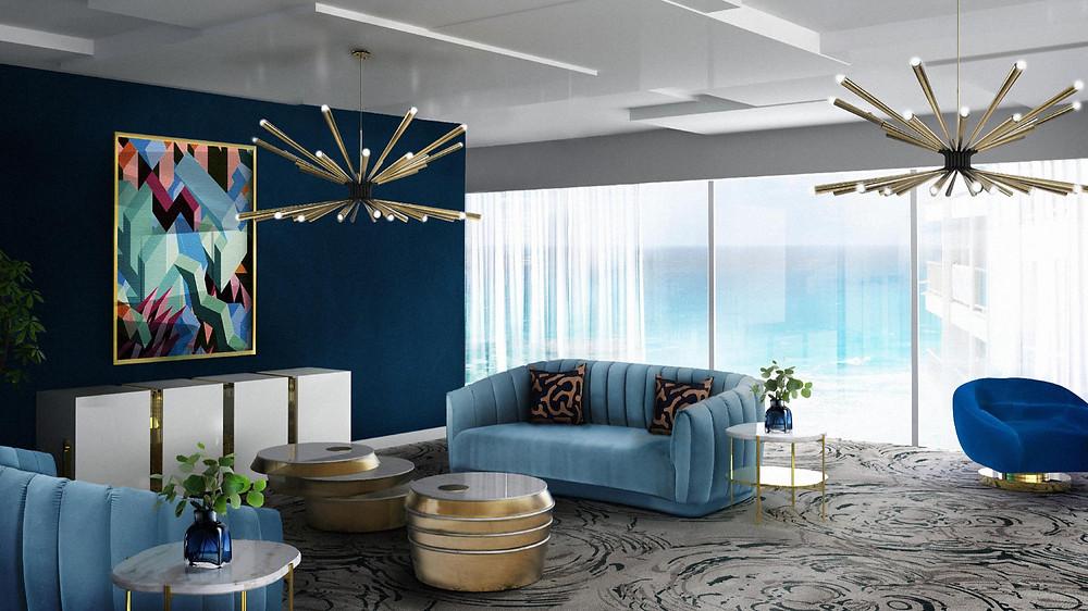 Luxurious dark blue interior