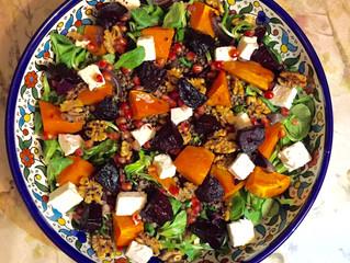 Seasonal delight: winter salad of roasted beetroot, lentils and feta