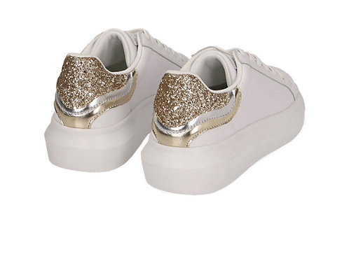 Primadonna - Leder Sneakers Weiß-Gold