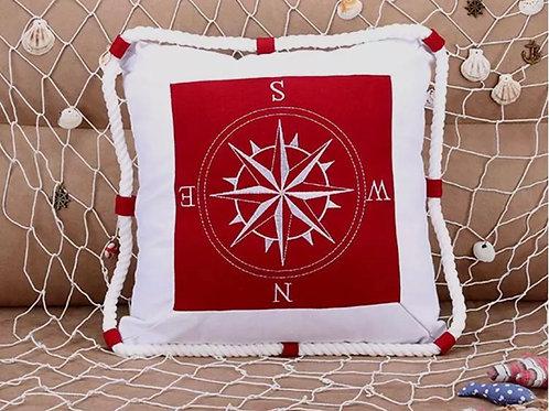 La petite surprise Couture Kissen Kompass Rot 40x40 cm
