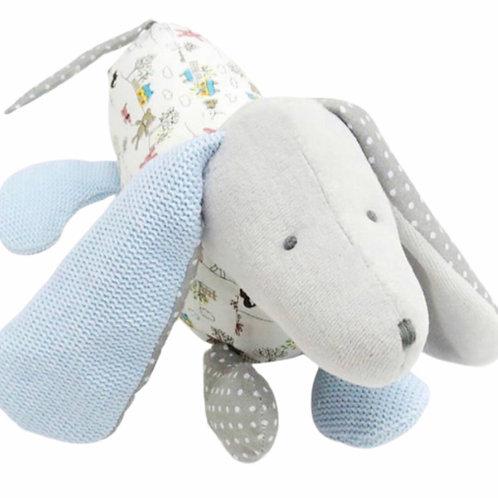 La petite surprise Couture - Stofftier Hund Grau-Hellblau 18 cm
