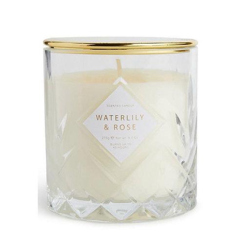 "La petite surprise Couture ""Waterlily and Rose"" Votivkerze im strukturierten Gla"