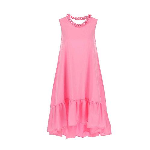 La petite surprise Couture Asymetrisches Kleid mit Kettenausschnitt Candypink