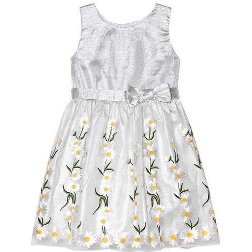 Holly Hastie - Silbernes Kleid mit Gänseblümchen-Stickerei