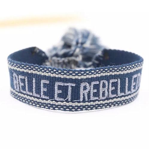 """Boho Canvas Armband """"Belle et Rebelled"""" Blau-Grau"""