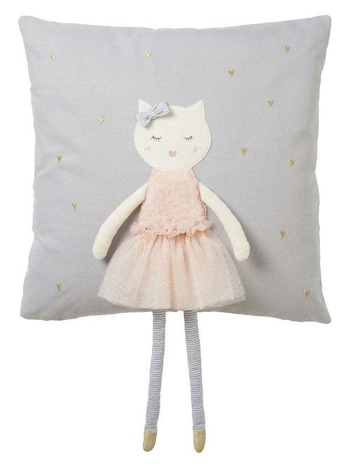 La petite surprise Couture Kissen mit aufgedruckter Katze im Tutu, grau 40x40 cm