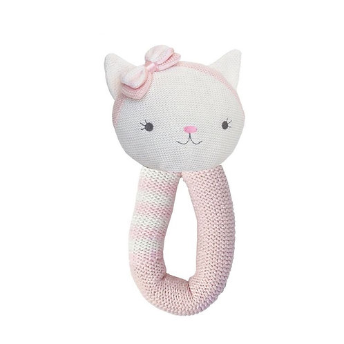 Living Textiles Knitted Baby Rattle Ava Cat