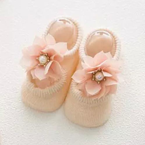 La petite surprise Couture - 1 Paar Baby Socken Pastellaprikot Gr.0-12 Monate