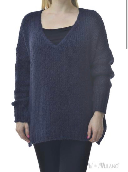 V Milano Pullover Unica Oversize Marineblau