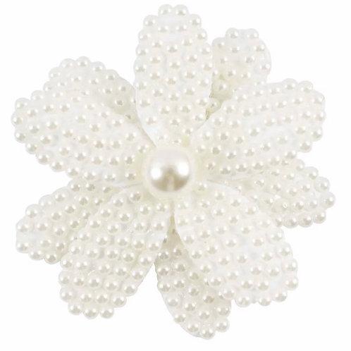 La petite surprise Couture Haarspange Perlen Blume Weiß