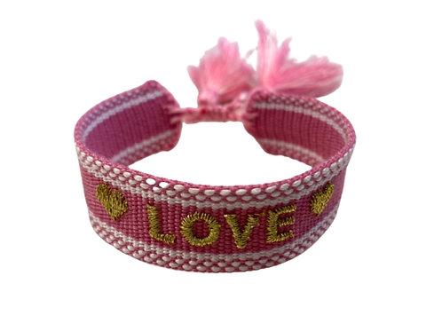 """La petite surprise Couture Canvas Armband """"Love"""" Pink"""